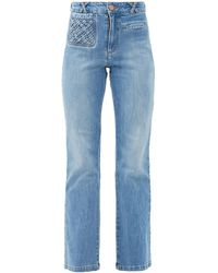 See By Chloé Braided-pocket Kick-flare Jeans - Blue