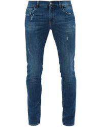 Dolce & Gabbana Distressed Slim-leg Jeans - Blue