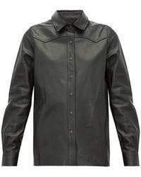 Nili Lotan Juline スネークパターン レザーシャツ - ブラック