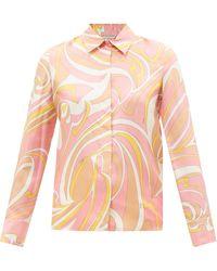 Emilio Pucci プリント シルクツイルシャツ - ピンク