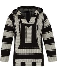 Alanui Baja Stripe Knit Hooded Sweater - Gray