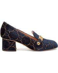 Gucci - Sylvie Logo Debossed Velvet Loafers - Lyst