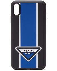 Prada Logo Stripe Iphone® Xs Max Rubber Phone Case - Blue