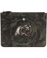 Givenchy - Monkeys-print Camouflage Large Leather Pouch - Lyst