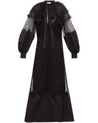 Fendi Ruffled Lace And Taffeta Midi Dress - Black