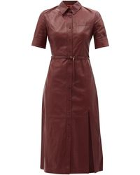 Altuzarra キーラン レザーシャツドレス - レッド