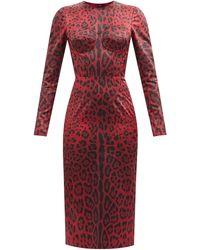 Dolce & Gabbana レオパード サテンドレス - レッド