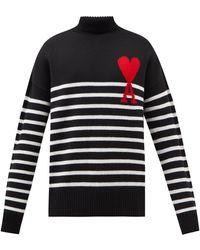 AMI De Coeur ボーダー ウールセーター - ブラック