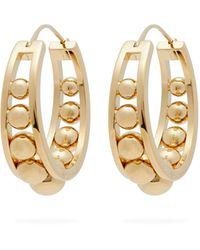 Prada Ball-embellished Brass Hoop Earrings - Metallic