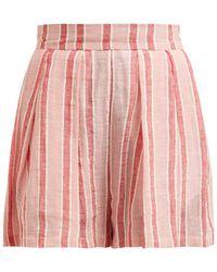 Three Graces London Kilman Striped Linen Blend Shorts - Pink