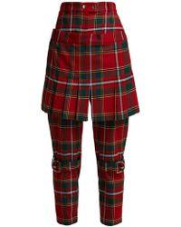 Burberry - Layered Tartan Wool-blend Slim-leg Pants Red Uk6 - Lyst
