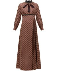 Gucci Cutout Gg-jacquard And Lurex Cotton-blend Dress - Brown
