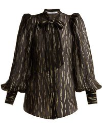 Givenchy - Pussy Bow Metallic Fil Coupé Silk Blend Blouse - Lyst