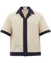Deveaux Cuban-collar Crinkled-crepe Shirt - Natural