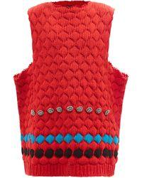 Raf Simons Crystal-embellished Wool Sleeveless Jumper - Red
