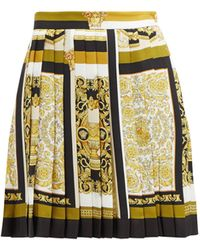 Versace Baroque-print Pleated Silk Mini Skirt - Yellow