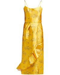 Johanna Ortiz Escape With Me Floral-print Satin Dress - Yellow