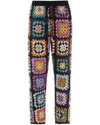 Ashish Sequinned Patchwork Crochet Pants - Multicolor