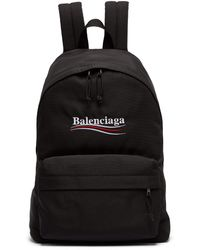 Balenciaga Explorer Logo Embroidered Coated Canvas Backpack - Black
