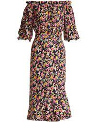 Saloni - Grace Mirage-print Silk Dress - Lyst