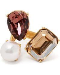 Oscar de la Renta - Bague à ornements façon perle et cristaux - Lyst