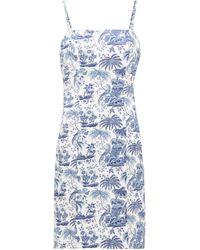 STAUD Basset Tropical-print Cotton Dress - Blue