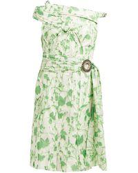 Calvin Klein フローラルプリント タフタドレス - グリーン