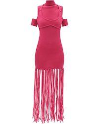 Thebe Magugu Fringed-hem Wool Dress - Pink