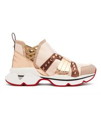 Christian Louboutin 123 Run Studded Satin Trainers - Pink