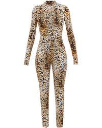 Halpern High-neck Leopard-print Jersey Jumpsuit - Natural