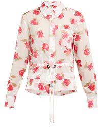 Altuzarra Lia Floral Devoré Crepe Drawstring Shirt - Multicolour
