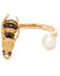 Delfina Delettrez   Diamond, Pearl & Yellow-gold Ring   Lyst