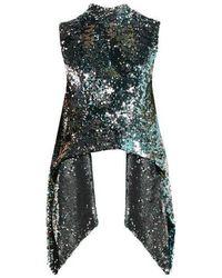 Halpern - Metallic Sequin-covered Open-back Top - Lyst