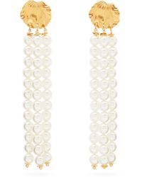 Elise Tsikis - Madera Faux Pearl Tassel Gold-plated Earrings - Lyst