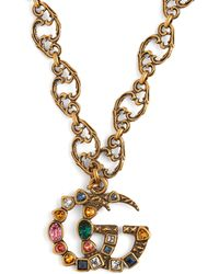 Gucci - Collier à pendentif ornements cristaux GG - Lyst