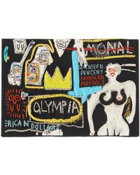 Olympia Le-Tan Basquiat Olympia-embroidered Canvas Clutch - Black