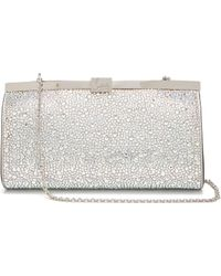 Christian Louboutin - Palmette Crystal Embellished Suede Clutch - Lyst