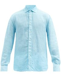 120% Lino 120% Lino リネンシャツ - ブルー