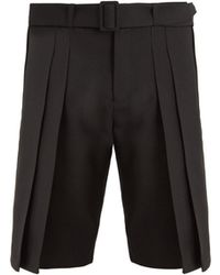 Saint Laurent Belted Wide Pleated Wool Shorts - Black