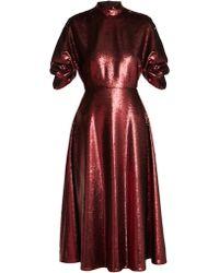 Emilia Wickstead Robe de soirée dos-nu à sequins Mariel - Rouge