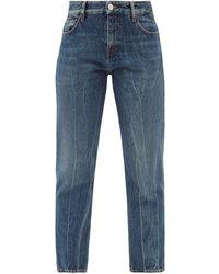 Balenciaga Distressed Cropped Straight-leg Jeans - Blue