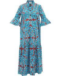 La DoubleJ アルテミス コットンポプリンシャツドレス - ブルー