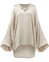Raey Hammered Silk Smock Blouse - Grey