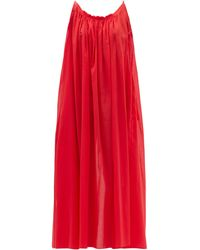 Loup Charmant Scooped-back Organic-cotton Voile Maxi Dress - Red
