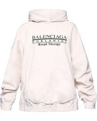 Balenciaga オーバーサイズ ロゴ コットンスウェットパーカー - ホワイト