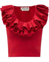 Alexander McQueen Ruffled Scoop-neck Jersey Cropped Top - Red