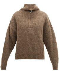 Étoile Isabel Marant Mclean Half Zip Ribbed Sweater - Brown