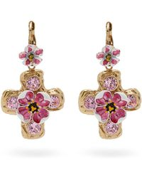 Dolce & Gabbana - Flower And Crystal Embellished Cross Earrings - Lyst