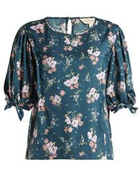 Rebecca Taylor - Emilia Floral-print Silk-twill Top - Lyst