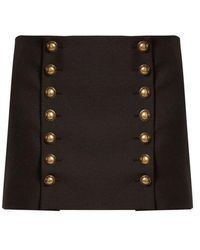 Saint Laurent - Button-detail Wool-gabardine Mini Skirt - Lyst